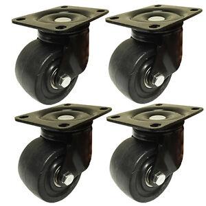 3-034-Machine-Swivel-Plate-Caster-Nylon-Wheel-550-lbs-Capacity-4-EA