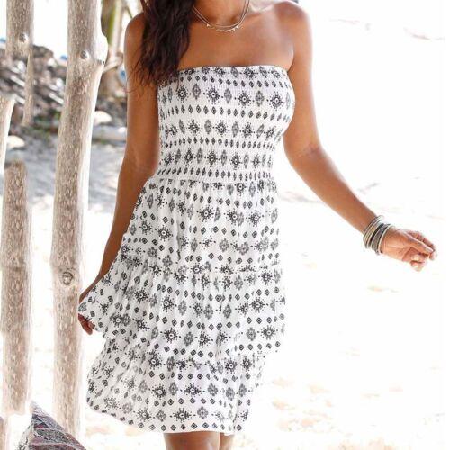 Damen Ärmellos Schulterfrei Strandkleid Blumen Kleider Sommerkleid Minikleid Neu