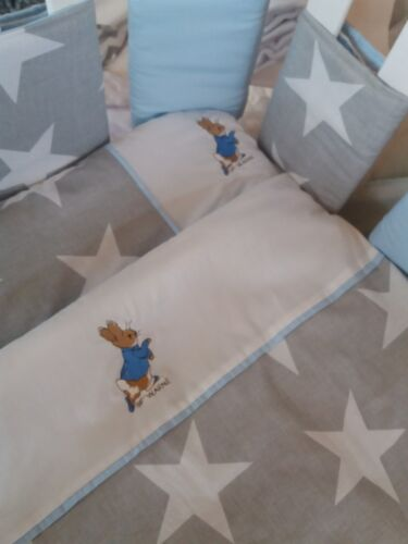 peter  rabbit cot bed quilt and pillow embroidered Grey and white stars