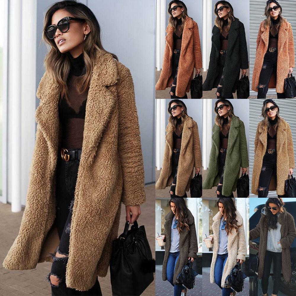 Plus Size Damen Winter Teddybär Fleece Pelz flauschigen Mantel Jacken Jumper Outwear