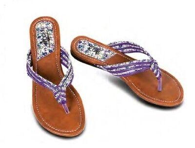 Womens Sandal T Strap Flower Design Braided Rope Thong Flip Flop Kali Link