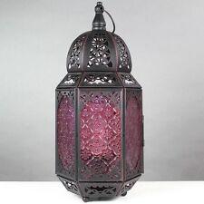 VINTAGE Etnico Rosso Antico Metallo Nero Stile Marocchino Lanterna Lampada da tavolo NUOVO
