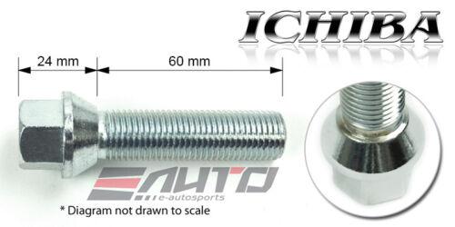 10x 60mm ICHIBA 14x1.5 M14 P1.5 WHEEL RIM EXTEND LONG LUG BOLT TAPER SILVER a