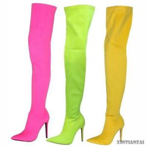 Women-Pointy-Toe-Over-The-Knee-Boots-Stretch-Candy-Shoes-Stiletto-Heel-Shoe-Chic