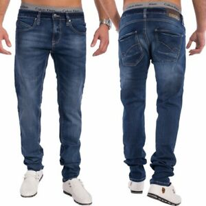 Hommes-Slim-Tapered-Jeans-Jeans-bleu-fonce-pantalon-etirer