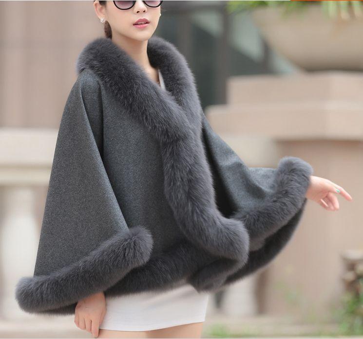 Opulent  Woherrar Real Cashmere Real Fox Fur Cloak poncho  coat  wraps  A style grå