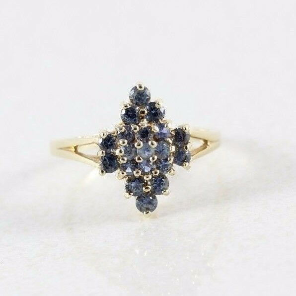 10k Yellow Gold London Blue Topaz Ring Size 8