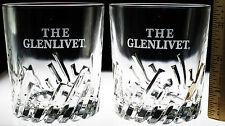 Glenlivet Diagonal Lines Cut Glasses Lot of 2 Tumbler Scotch Whisky Whiskey