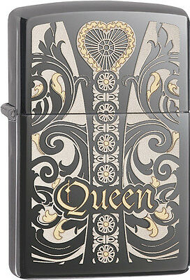 Zippo Choice Queen Venetian Laser Engrave Black Ice Windproof Lighter 28797 NEW