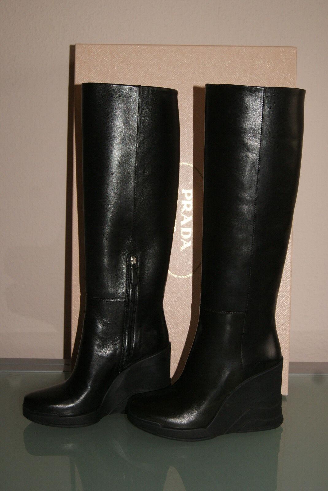 PRADA Stiefel Gr. 39 Keilstiefel Plateau Stiefel schwarz Lederstiefel Lederstiefel Lederstiefel NEU ec1689