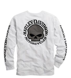 Harley-Davidson-Men-039-s-Skull-Long-Sleeve-Tee-White-Gr-3XL-Herren-Shirt-Weiss