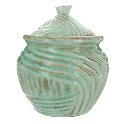 Shabby Chic Ceramic Pot With Lid