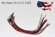10x Orange Pre-Wired 12V 5MM Led Round Ultra-Clear Lens Bulb 12V Orange - USA