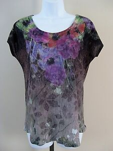 Coldwater-Creek-Size-XS-Multi-Color-Floral-Short-Sleeve-Knit-Top