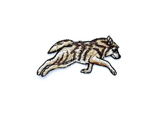 Embroidered Iron On Patch Crafts Running Wolf Wolf Wild Animal