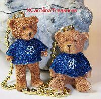 Teddy Bear Christmas Holiday Sweater Dark Blue Ceiling Fan Switch Pulls Pair