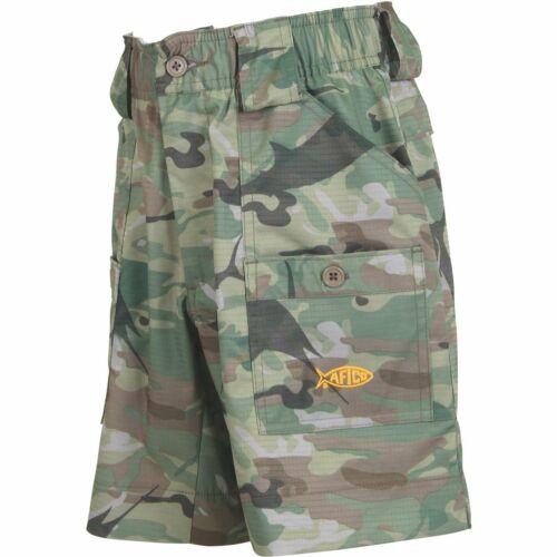AFTCO Youth Boys Camo BE2 Original Fishing Shorts--Pick Color//Size-Free Shipping