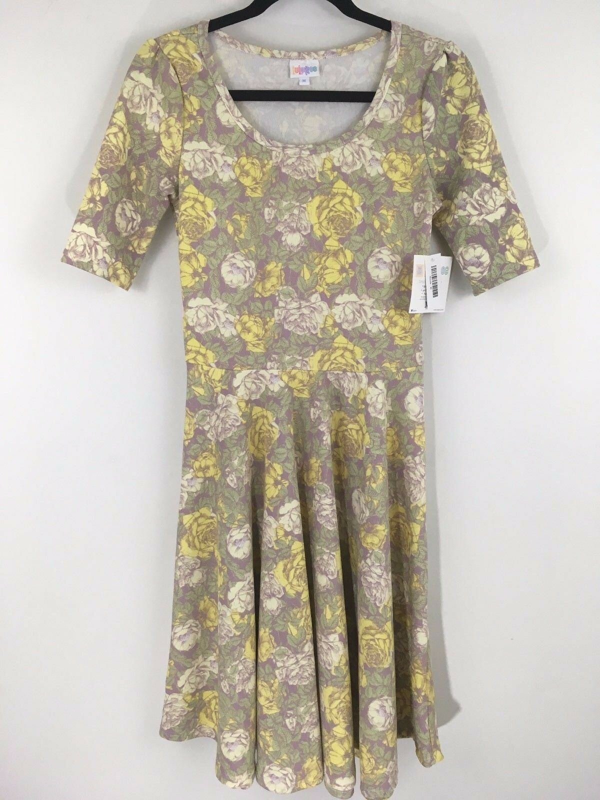 LuLaRoe - Nicole Dress - Yellow Green Tan Floral - Knee Length Women's Size M