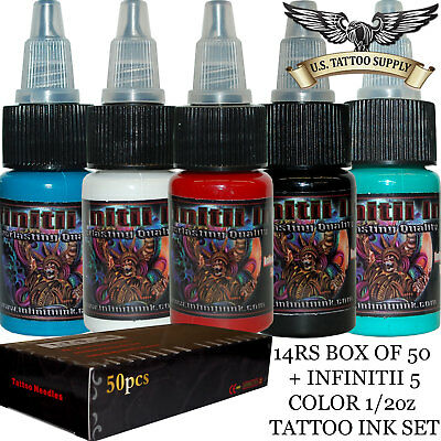 Infinitii Tattoo Ink 5 Color 1/2oz Ink Set Numerous In Variety 14 Round Shader Tattoo Needles Tattoo Inks