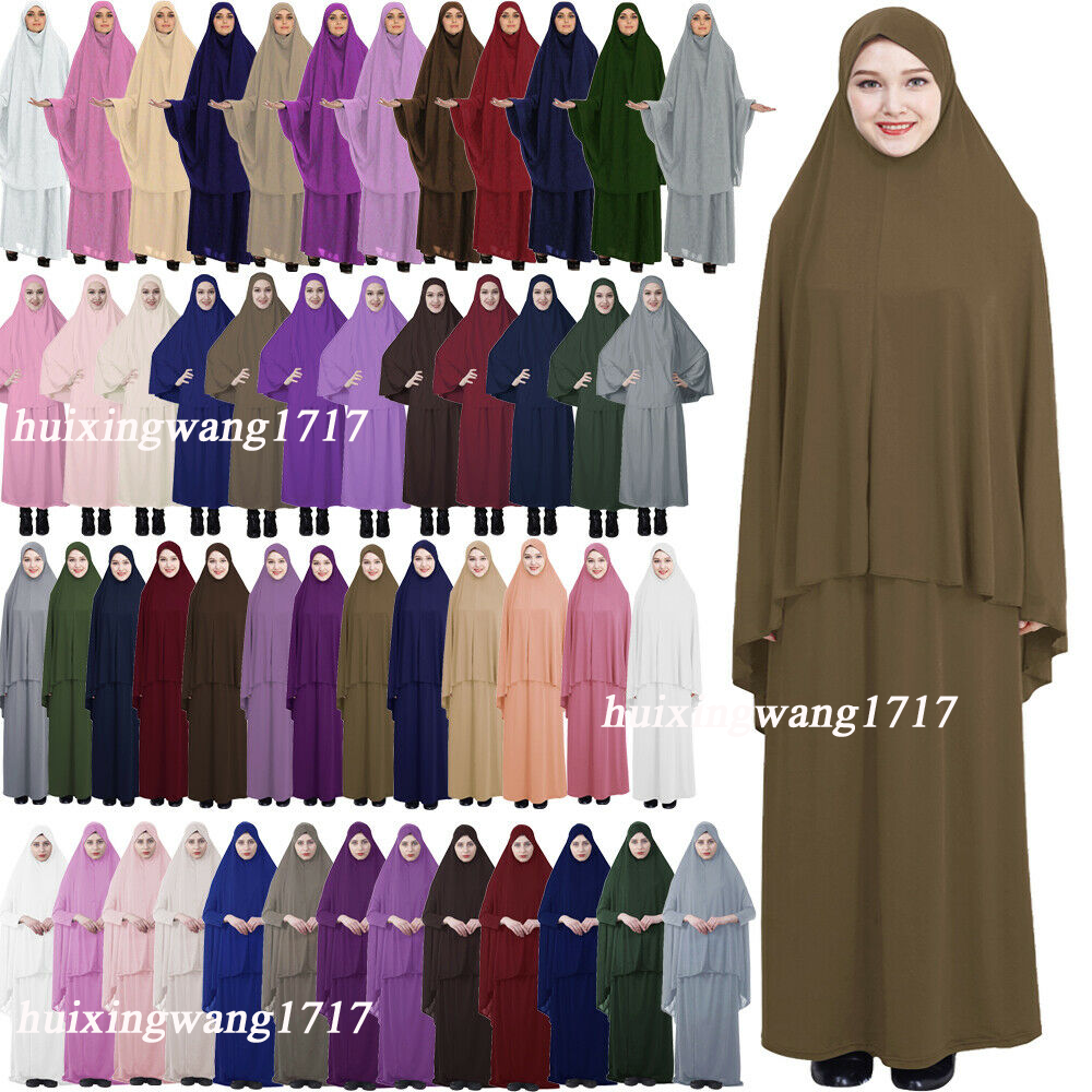 Abaya Kaftan Muslim Women Prayer Dress Khimar Jilbab Niqab Burka Hijab Ramadan