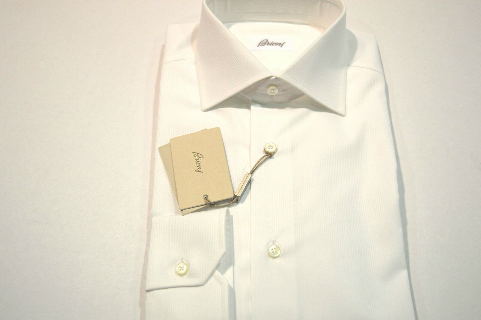 NEW  BRIONI Dress SHIRT 100% Cotton Size 15 Us 38 Eu White (Store Code SE3)