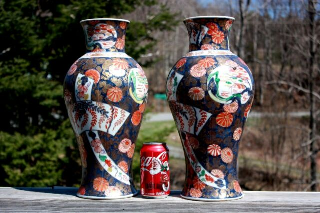 ANTIQUE 19c PAIR OF LARGE JAPANESE IMARI VASES 16