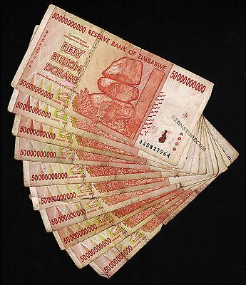 Banknotes 20,000 to 50 Billion *Poor Condition* Lot Zimbabwe Dollars Set of 10