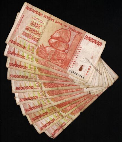 50 Billion Zimbabwe Dollars x 10 Banknotes AA AB 2008 *Damaged Condition* 10PCS