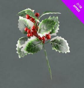Variegated-Artificial-Holly-amp-Berry-Pick-x-21cm-Christmas-Leaf-Garland-Wreath