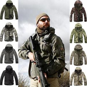 Shark-Skin-Soft-Shell-Men-Military-Tactical-Jacket-Hood-Coat-Pants-Waterproof