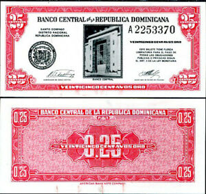 DOMINICAN-REPUBLIC-25-CENTAVOS-ND-1961-P-87-UNC