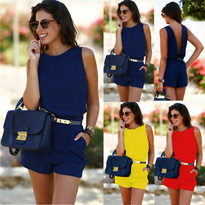 Womens Holiday Playsuit Jumpsuit Romper Summer Beach Dresses Casual Blue S LZF08