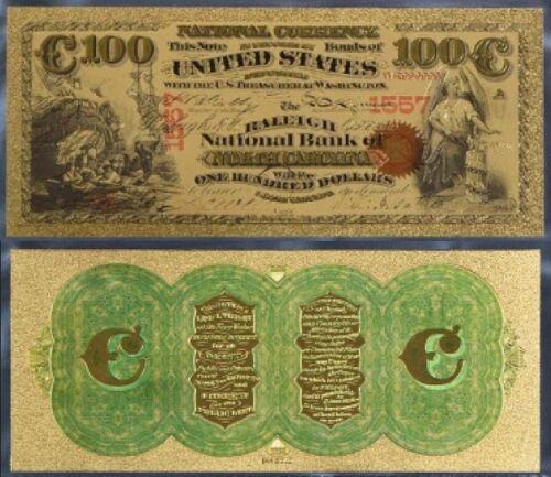 USA 100$ HUNDRED US DOLLARS NATIONAL BANK NORTH CAROLINA COLOUR BANKNOTE GOLD24K