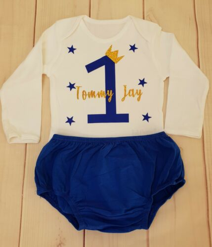 Baby Boys First 1st Birthday Outfit Bodysuit ANY NAME Top Vest  Blue Cake Smash