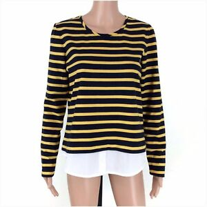 Tommy-Hilfiger-Women-039-s-Blue-Yellow-Striped-Long-Sleeve-Knit-Top-Size-Large