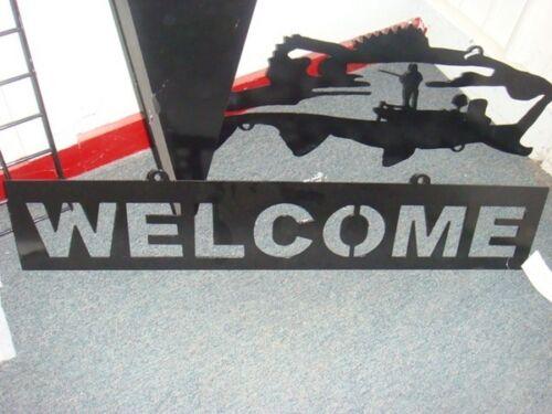 Grande Bouche Bass Bateau de pêche en acier inscription bienvenue