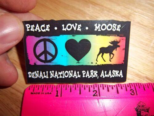 Wood Fridge magnet unique! Denali National Park Alaska Peace love Moose