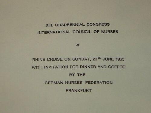 Rhine Cruise 1965 @ Invitation Menu Vintage INTERNATIONAL COUNCIL of NURSES