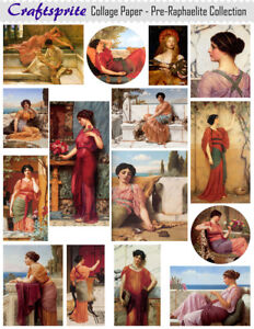 """High Quality Printed Collage Sheet Pre-Raphaelite Collection - 8.5""""x11""""  (CP03)"""