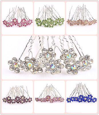 10 Épingle À Cheveux Argent Perle Strass Cristal Fleur Mariage Fantaisie Bijoux