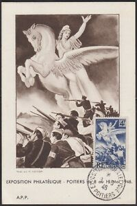 1946 France Carte Maximum 669 Liberation Obl Expo Phil Poitiers 1946 Maxi Card