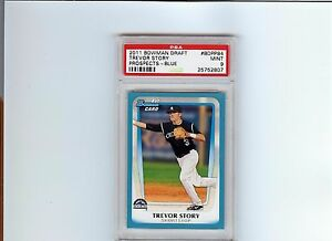2011 Bowman Draft Trevor Story BLUE PARALLEL Prospect Card #d 400/499 PSA 9