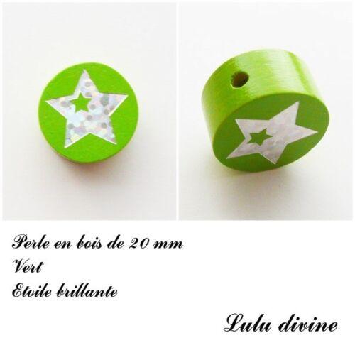 Perle en bois de 20 mm Etoile argenté Perle plate Vert
