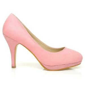 WOMENS HOT PINK HIGH-HEEL WEDDING PROM SLIP-ON SUEDETTE COURT SHOES SIZES 3-8