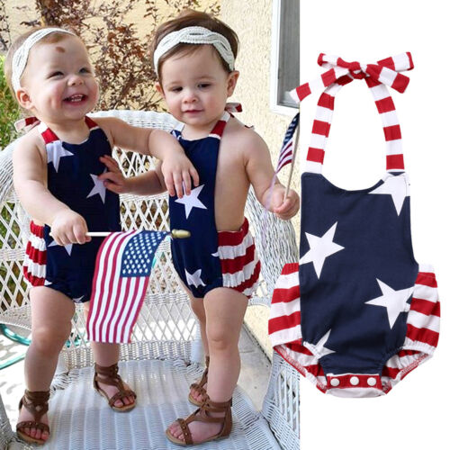 4th of July Newborn Baby Boys Girls Strap Romper Bodysuit Summer Clothes Outfits