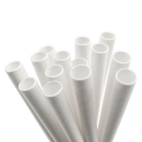 50 × White Paper Cocktail Drinking Straws 135mm Long Eco Friendly  Biodegradable