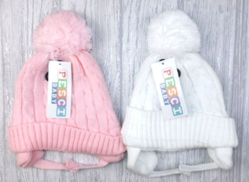 Baby Boys Girls Lined Cable Knitted Traditional Pom Pom Hats