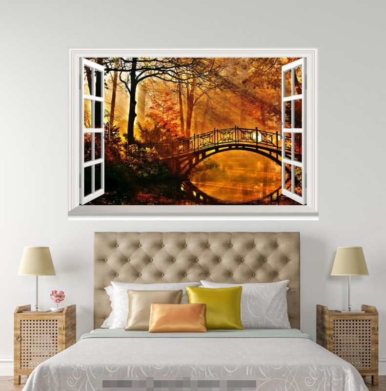 3D Dusk Bridge Trees 0136 Open Windows WallPaper Wandbilder Wall Print AJ Jenny