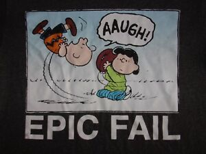Details about Peanuts Charlie Brown Football Epic Fail Funny Quote Humor T  Shirt Mens Small