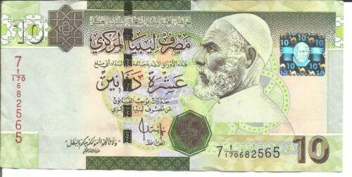 LIBYA 10 DINARS P 73 VF CONDITION 4RW 25ABRIL
